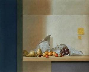 Bodegón de frutas pared azul