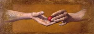 Manos y bola roja