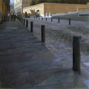Calle de Segovia leo lienzo tabla